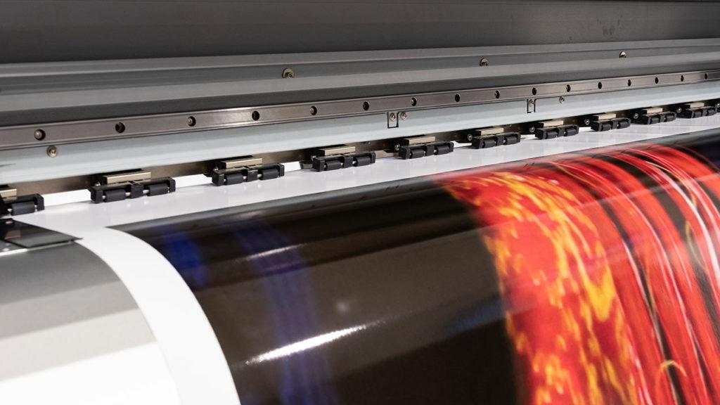 Digital printer printing a poster
